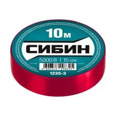 1235-3 Изолента СИБИН красная, ПВХ, 15мм х 10м