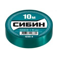 1235-4 Изолента СИБИН зеленая, ПВХ, 15мм х 10м