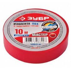 1233-3 Изолента ЗУБР Мастер красная, ПВХ, не поддерж. горение, 6000В, 15мм х 10м